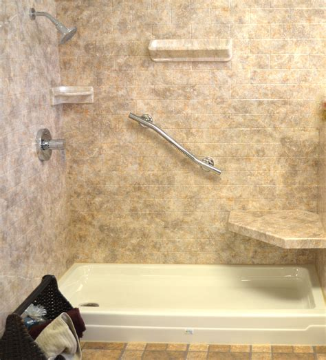 Travertine Tile Ideas Bathrooms by Acrylic Shower Walls Vs Tile Shower Walls