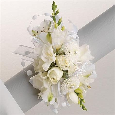 Flower Pin Combined Dress 12482 wrist corsage all white durocher florist corsages