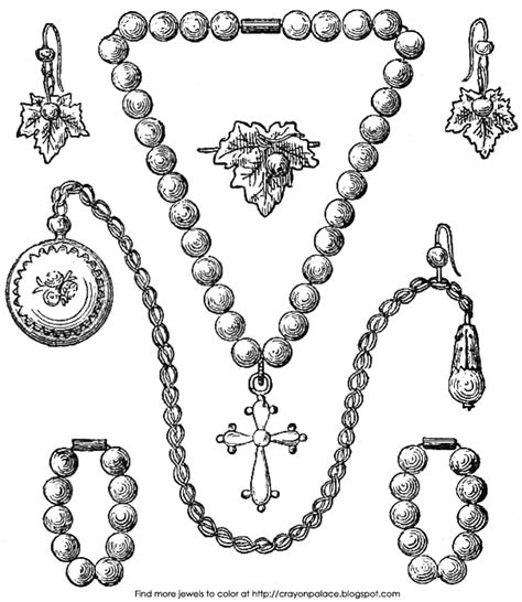 coloring page necklace pearl jewelry coloring page crayon palace