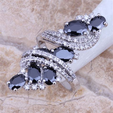 Black Sapphire Big Size black sapphire white topaz 925 sterling silver overlay