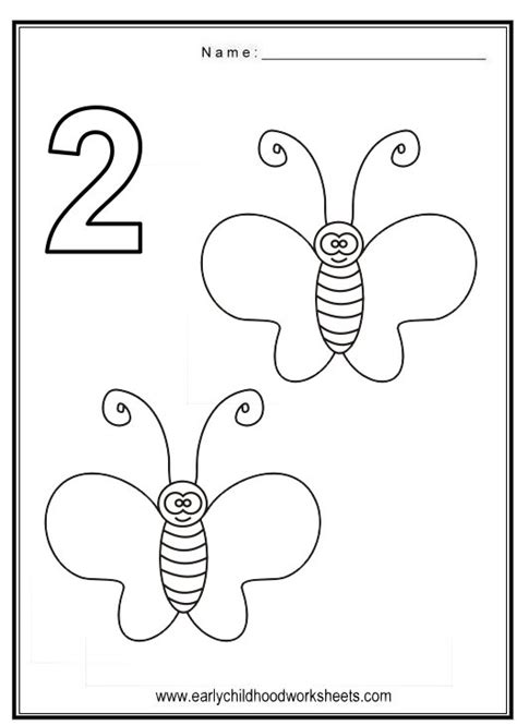 Number 2 Coloring Pages For Preschoolers by Coloring Numbers Bugs Theme