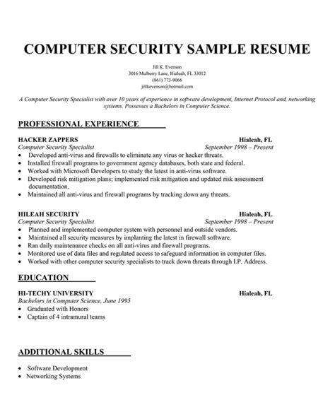 Computer Security Expert Sle Resume by Resume Format Resume Writing For Security