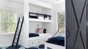 bunk beds with rails white built in bunk beds with navy safety rail cottage