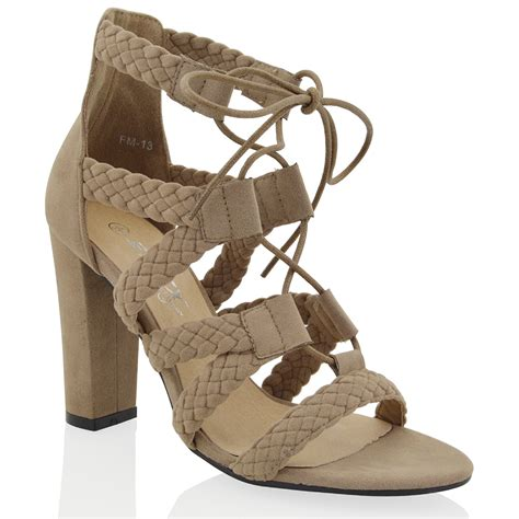 Heels Hms Import 13 new womens cadged ankle high heel lace up woven strappy sandals shoes ebay