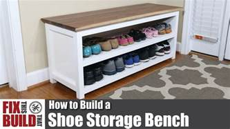 how to make a bench with storage diy shoe storage bench how to build youtube