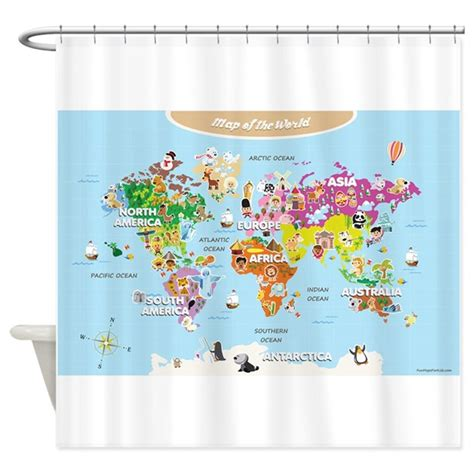 world map shower curtain canada world map for kids cute shower curtain by funmapsforkids