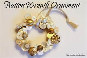 Country chic cottage button wreath ornament