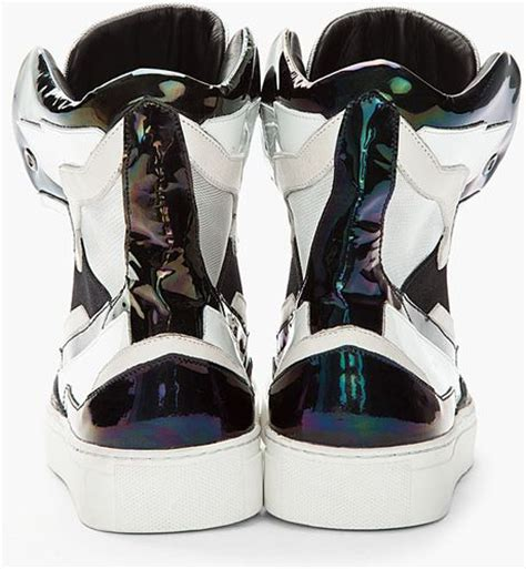 raf simons holographic space sneakers raf simons black white leather holographic space sneakers