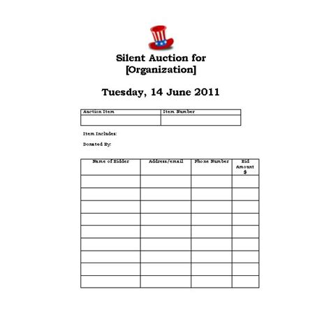 silent auction bid sheet images
