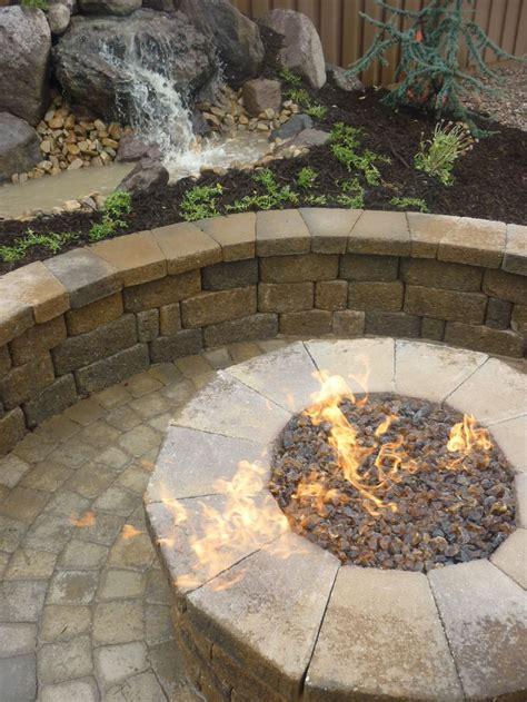 Fire Pit Backyard Paver Fire Pit And Water Feature In The Backyard In Utah