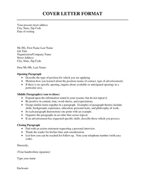 The Format Of A Cover Letter by Cover Letter Format Resume Cv Exle Template