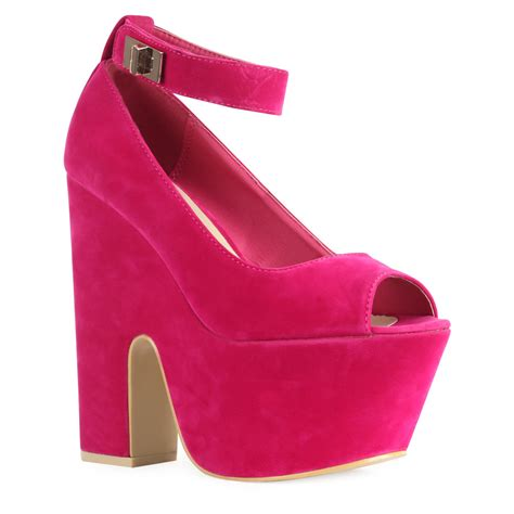 new womens fuschia pink peep toe platform block