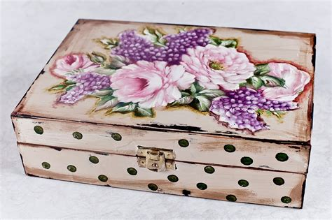 Decoupage Photo - decoupage krok po kroku szkatu蛯ka w groszki