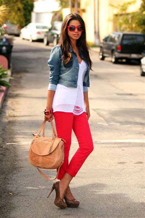 what to wear with light pink pants what to wear with red colored jeans glam radar