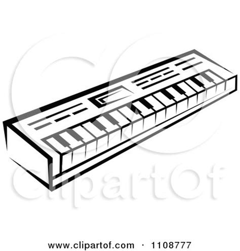 clipart black and white keyboard musical instrument