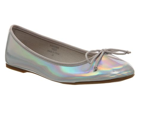 holographic flat shoes womens office karmen ballet silver holographic flats ebay