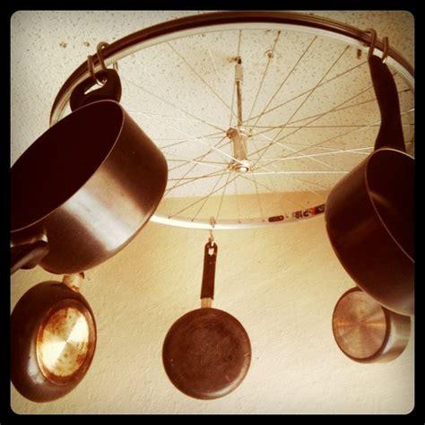Pot Holder From Ceiling Diy Kitchen Bicycle Wheel Pot Rack Hippie Eats