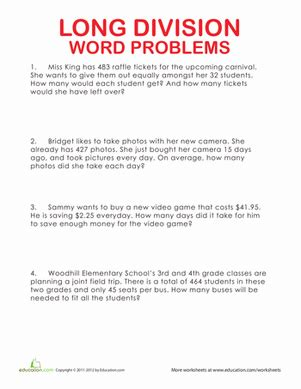 Free Printable Worksheets On Division Word Problems | long division word problems worksheet education com