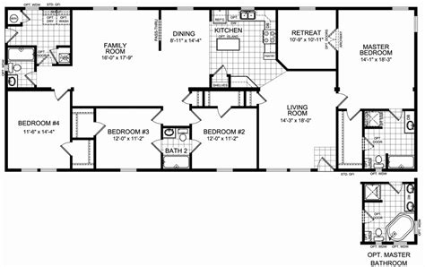 old mobile home floor plans 4 bedroom 3 bathroom mobile home floor plans
