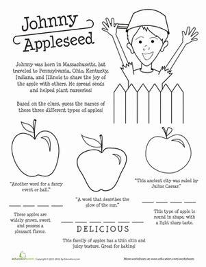 apple names and johnny appleseed school worksheets
