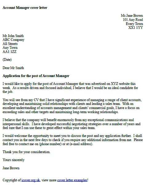 cover letter for application uk account manager cover letter exle cover letters and