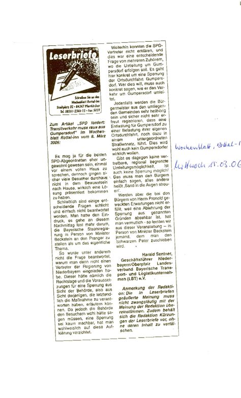 wochenblatt rottal inn 2006 pressespiegel der lbt lbt landesverband