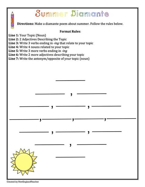 Summer Poetry Pack Haiku Diamante Acrostic Cinquain Grades 3 6 Poetry Unit Worksheets Cinquain Poem Template