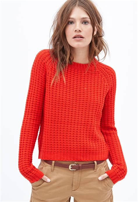 Boxie Sweter forever 21 knit boxy sweater in lyst
