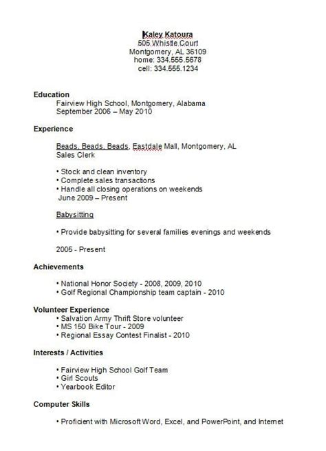 resume for highschool students first job resume examples for highschool students