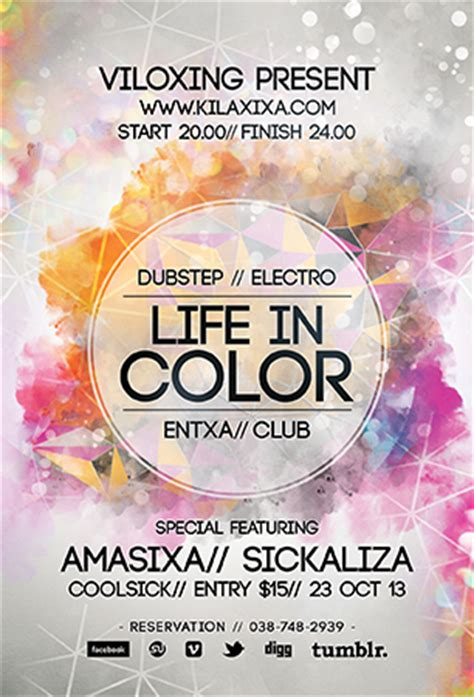 Life In Color Flyer Templates By Graphicplan On Deviantart Color Run Flyer Template