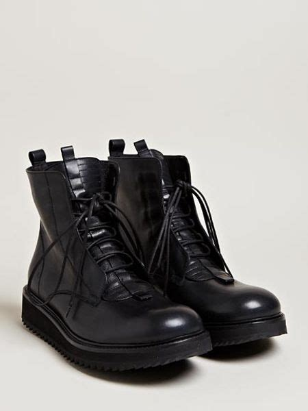 damir doma mens fusco leather lace up boots in black for