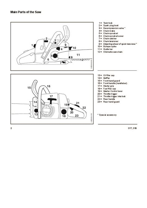 stihl 017 parts diagram stihl 017 018 chainsaw owners manual