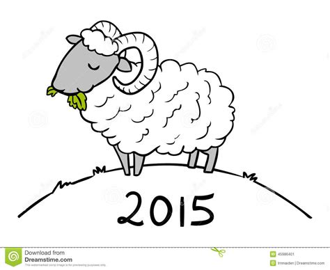 doodle for 2015 sign up year of the sheep doodle for 2015 stock vector