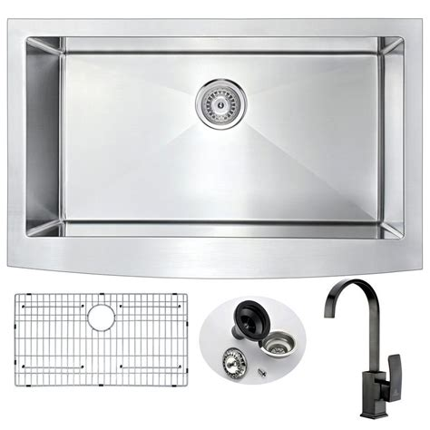 stainless steel kitchen sink with bronze faucet anzzi elysian farmhouse stainless steel 36 in 0 hole