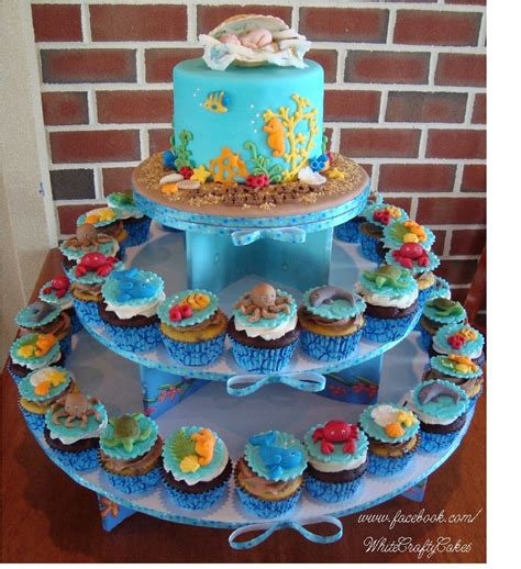 The Sea Baby Shower Theme by I Made This Cake And Cupcake Tower For A The Sea Themed Baby Shower Sea Creature Toppers