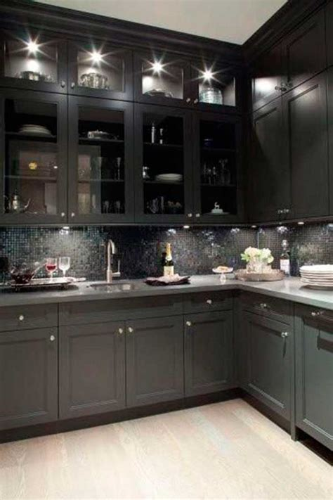 Kitchen Cabinet Glass Door Black Kitchen Cabinets With Glass Doors Quicua