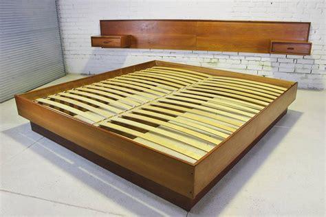 Platform Bed With Nightstands Attached Vintage Scandinavian Modern Teak King Platform Bed With Attached Nightstands For Sale At 1stdibs