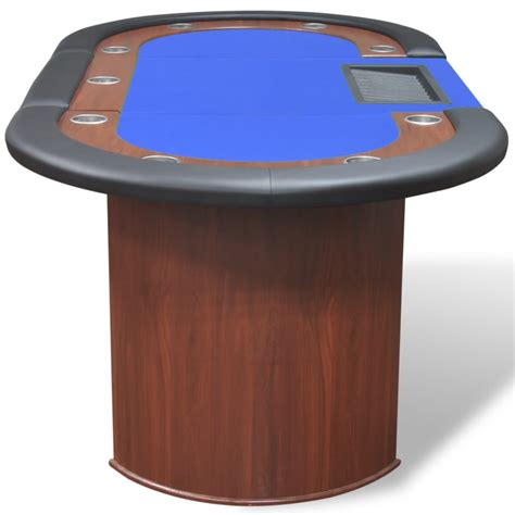 10 player table 10 player table with dealer area and chip tray blue