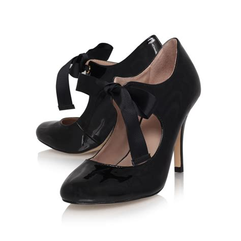 carvela kurt geiger ribbon tie court shoe in black