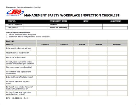 workplace safety inspection checklist template workers compensation workers compensation safety checklist
