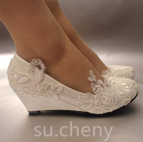 Wedding Shoes Wedges by Silk Satin Lace Wedding Shoes Flat Low High Heel