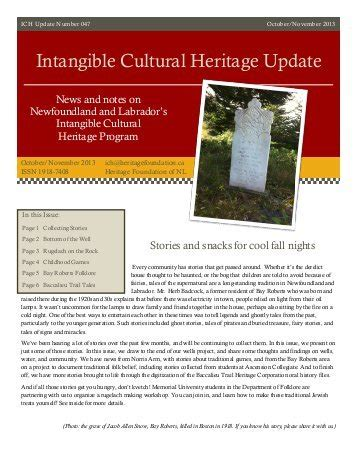 what is intangible cultural heritage intangible 460 free magazines from collections mun ca