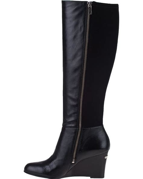 michael michael kors bromley wedge boot black leather