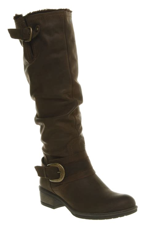 womens office jackal knee boot brown leather boots ebay