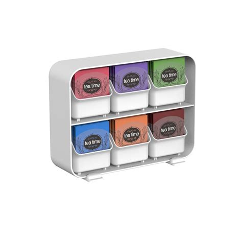 tea drawer mind reader clutch 6 drawer tea bag holder in white stborg