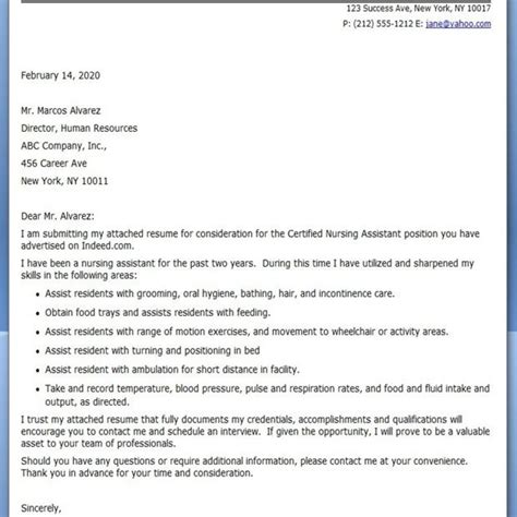 Cover Letter For A Cna by Dandy Cover Letter For Cna Letter Format Writing