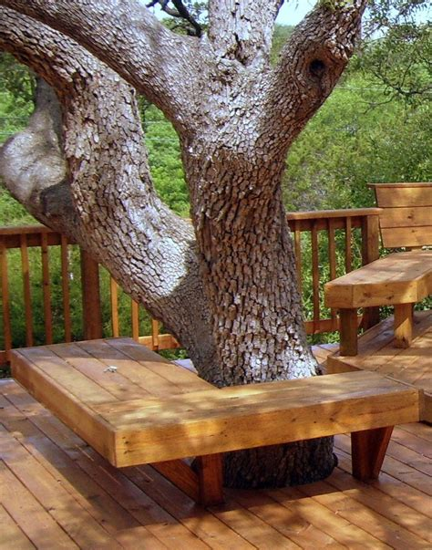 bench around tree trunk seating around tree landscaping around deck pinterest