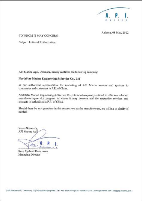 authorization letter usmc representation of international makers business northstar