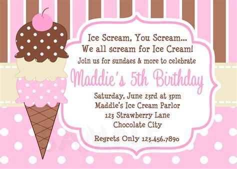 free printable invitations ice cream party printable birthday invitations girls ice cream party
