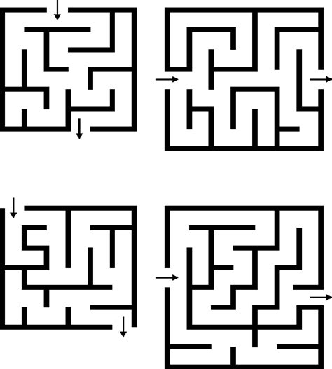 maze template 4 small printable mazes for
